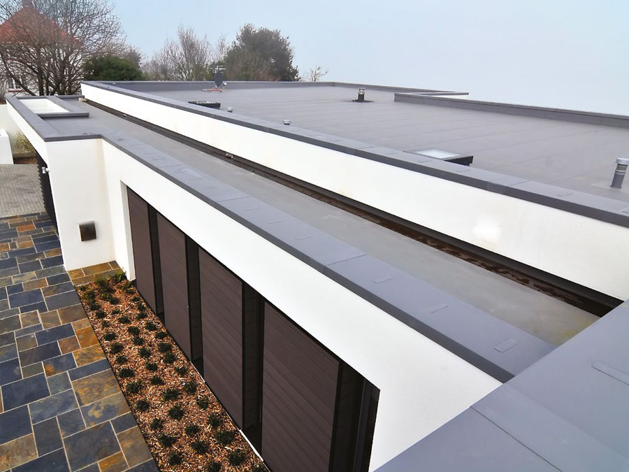 Modern commercial building with a flat roof